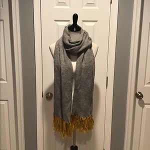 Universal Threads Grey Scarf with Gold Tassels